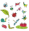 Set of funny cartoon insects isolated vector image