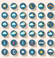 wheather set flat icon snow rain sun cloud car vector image