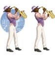 Afroamerican musician cartoon character vector image vector image
