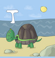 alphabet letter t and turtle abc book vector image