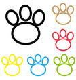 animal paw icon print line foot dog cat vector image vector image