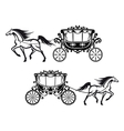 Antique decorated carriages with horses vector image vector image