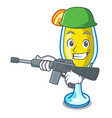 army mimosa character cartoon style vector image vector image