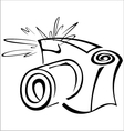 Black and white contour photo camera vector image vector image