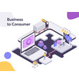 business to consumer isometric modern flat vector image vector image