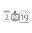 calendar happy new year 2019 number isolated vector image vector image