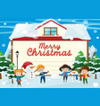 christmas card template with kids in the snow vector image vector image