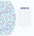 contact us concept with thin line icons vector image vector image