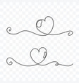 continuous line drawing love hearts on vector image