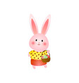 cute rosy easter bunny with basket of eggs vector image