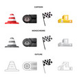 design of car and rally icon collection of vector image