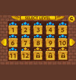 egyptian style level select screen game ui set vector image vector image
