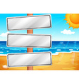 Empty signboards at the beach vector image vector image