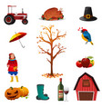 fall or autumn icons vector image vector image