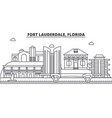 fort lauderdale florida architecture line skyline vector image vector image