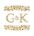 g and k vintage initials logo symbol vector image vector image