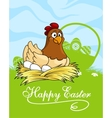 Happy Easter card design with a hen vector image vector image