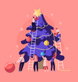 happy tiny people decorate huge christmas tree vector image vector image