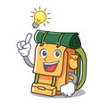 have an idea backpack mascot cartoon style vector image