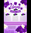 hello spring floral poster template design vector image vector image