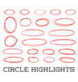 highlight circles set collection hand drawn red vector image