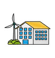 house building with wind turbine eco real estate vector image