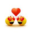 love emoticon icon love hearts in eyes vector image vector image