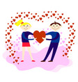 lovers hold red heart in their hands vector image