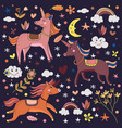 magical cute unicorns in dark background vector image vector image