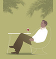 man sitting under the palm trees in a bar vector image