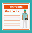 medical notes about family doctor vector image vector image