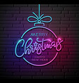 merry christmas and happy new year neon light vector image