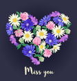 miss you card with floral heart vector image