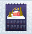 moon 2020 calendar merry christmas happy new year vector image