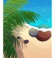 Ocean coast with palm branches vector image vector image