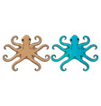 octopus beige and blue hand drawn sketch vector image vector image