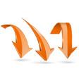 orange down arrows set of 3d web shiny icons vector image vector image
