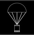 parachute with cargo the white path icon vector image vector image