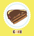 piece of chocolate cake with icing cake icon vector image vector image