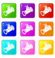 pipe water icons set 9 color collection vector image vector image