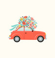 red retro toy car delivering bouquet flowers vector image vector image