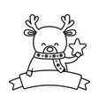 reindeer with scarf holding star decoration merry vector image vector image