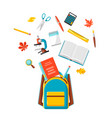 school backpack with education items vector image vector image