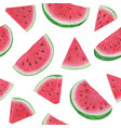 seamless pattern with watermelon slices on white vector image vector image