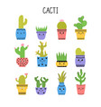 set of cacti and succulents cacti in flower pots vector image