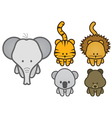 Set of cartoon wild or zoo animals vector | Price: 1 Credit (USD $1)