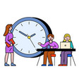 teamwork business consulting with laptop vector image vector image