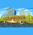 water pollution environmental problem emissions vector image
