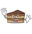 waving tiramisu character cartoon style vector image vector image