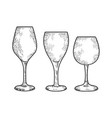 wine glasses sketch vector image vector image